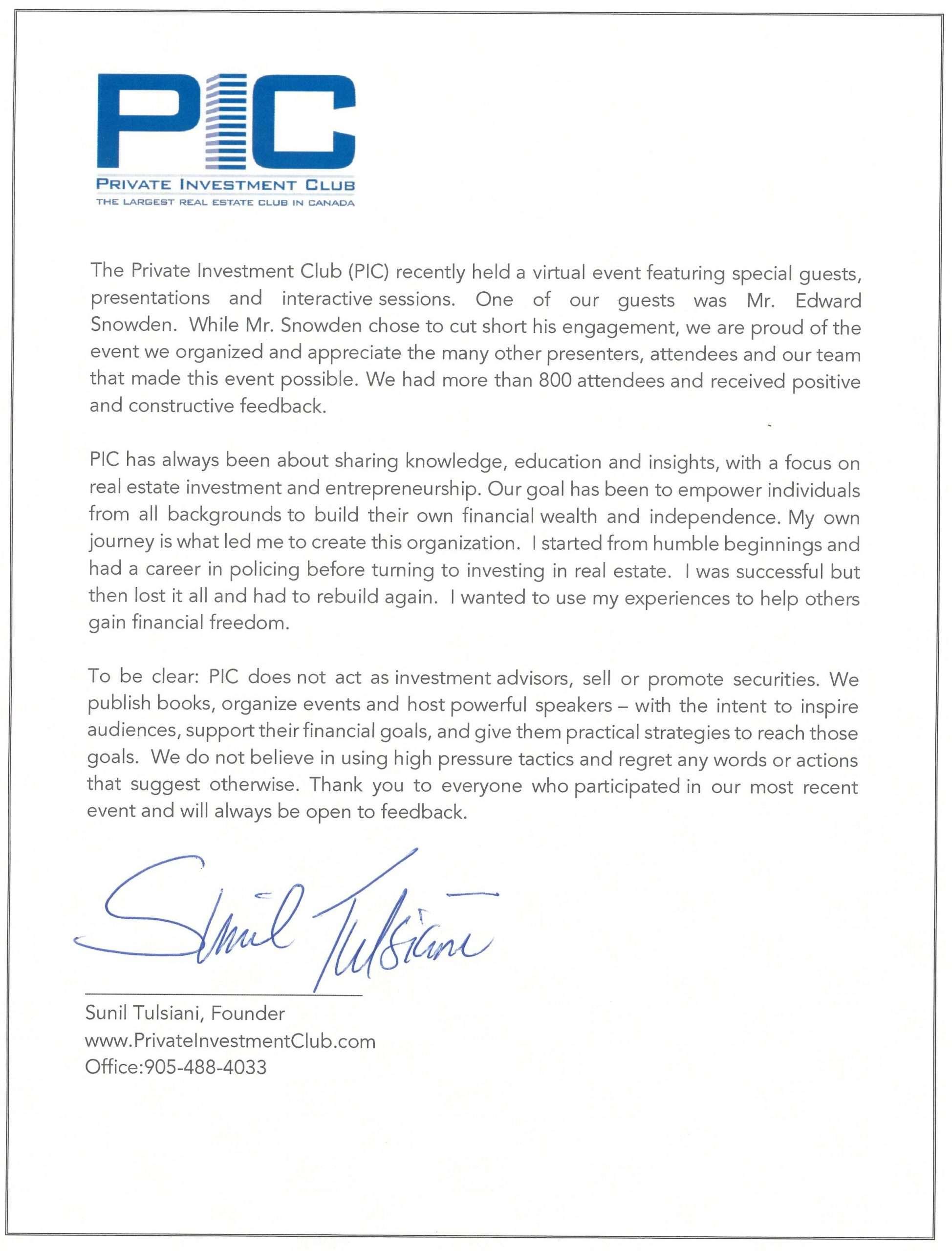 Sunil Tulsiani Letter